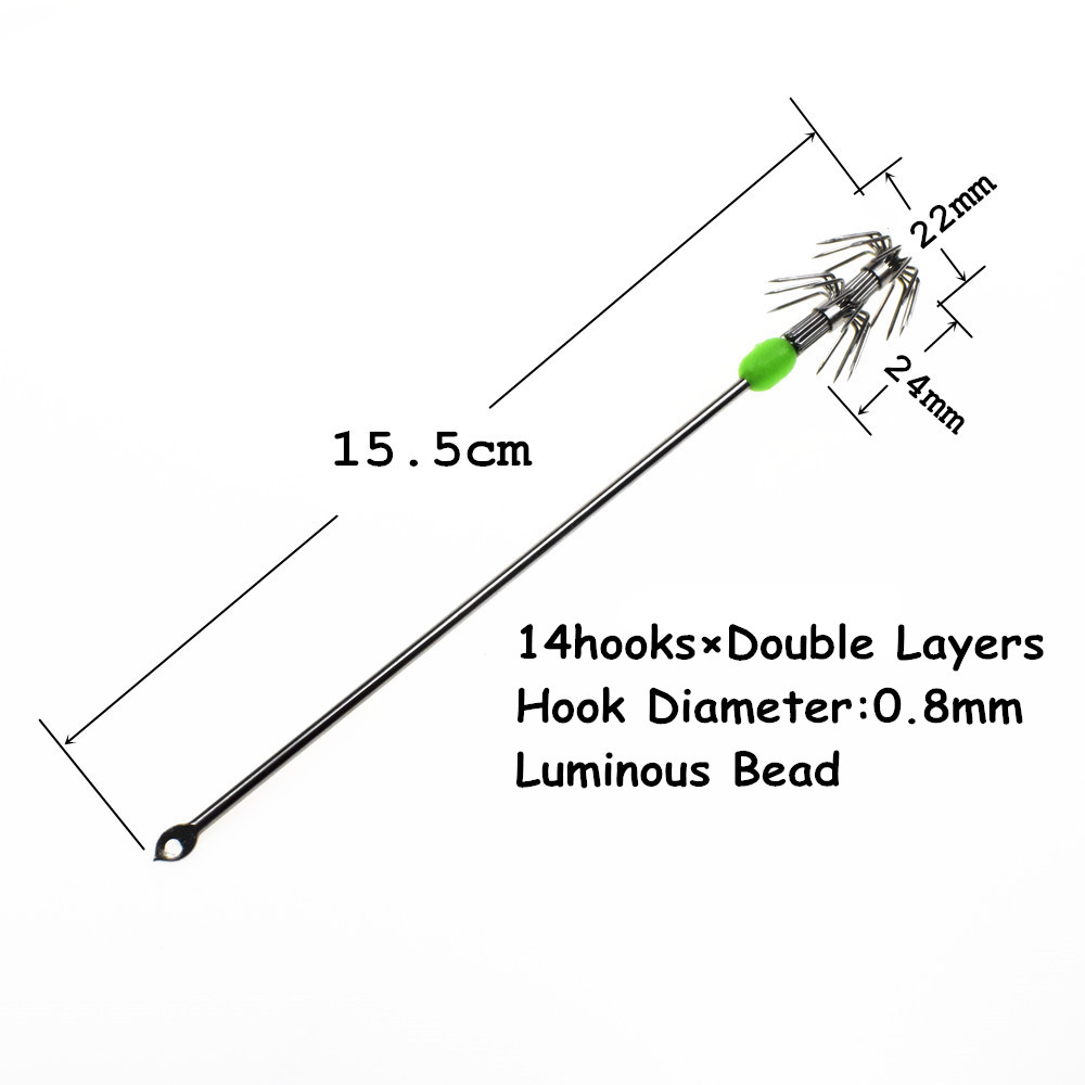 Details about  /Stainless Steel Double Layers Umbrella Squid Octopus Jigging Fishing Hook Tackle