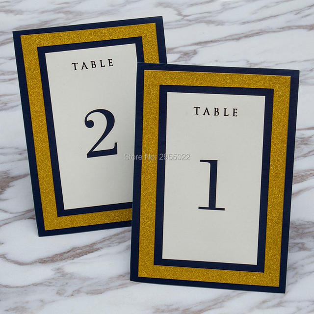 Navy blue and glitter gold table numbers, free standing birthday ...