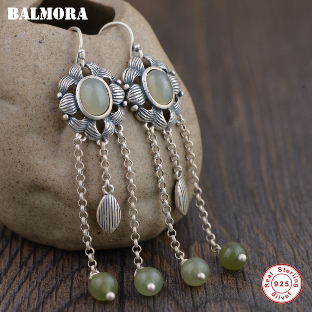 BALMORA 925 Sterling Silver Tassel Dangle Earrings for Women Mother Gift Ethnic Earrings Thai Silver Jewelry