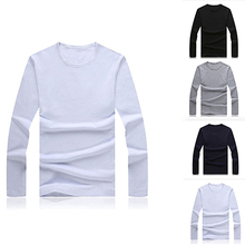Men Slim Fit Long Sleeve Shirt Solid T-shirt Tee Shirt Casual Round Neck Top