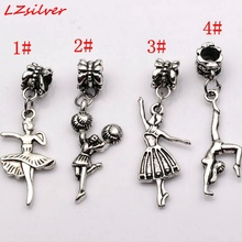 MIC 10 pcs Antique silver Mixed Dance girl  Dangle Beads Fit European Charm Bracelet (za450)