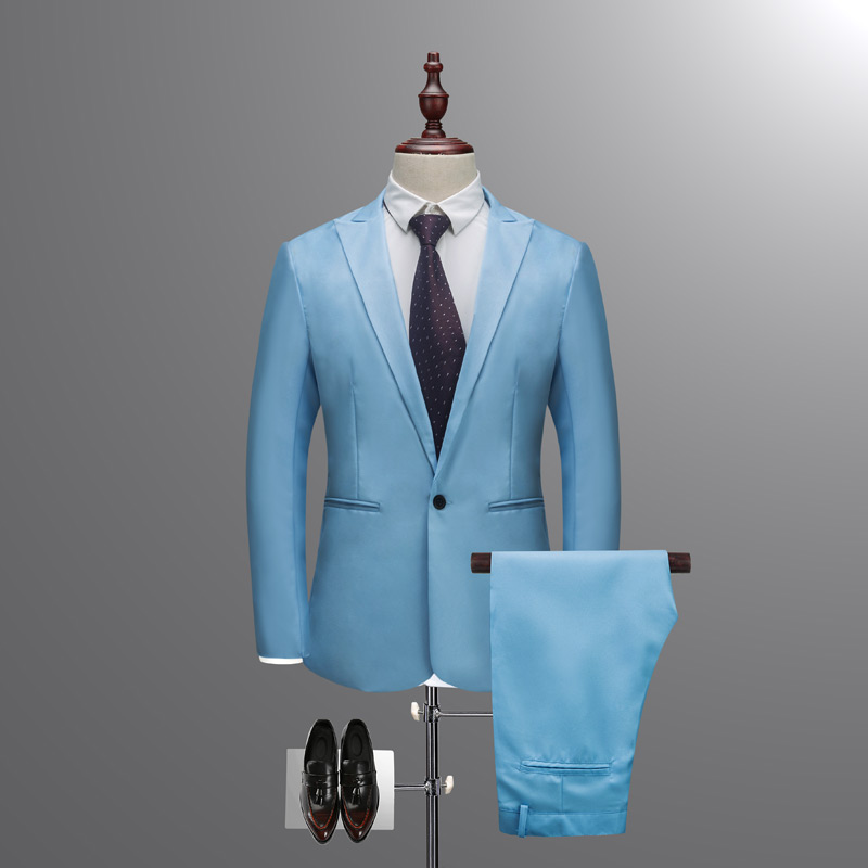 New Sky Blue Peaked Lapel Man Suits Pure Color Groom Tuxedos Suit Tailored Wedding Suits (jacket+ Pant) Plus Size M-3xl