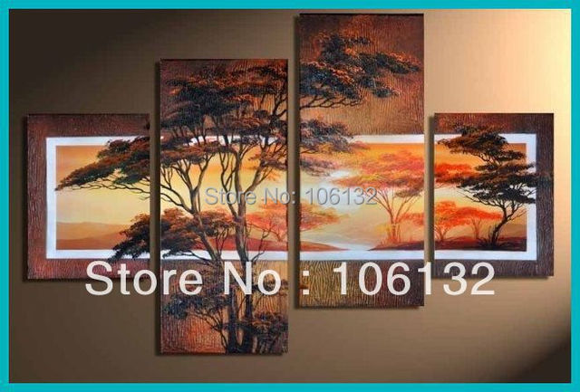 Delicieux Framed 4 Panel Large Thick Textured Sunset Tree Painting Canvas Art Office  Decoration Home Picture A0576