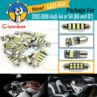 Cawanerl Car 2835 Chip LED Dome Map Door License Plate Light Canbus LED Package Kit White For Audi A4 S4 (B6 and B7) 2002 2008