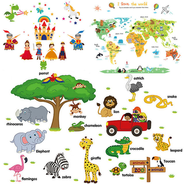 New World Map Wall Sticker Cartoon Animal Stickers Childrens Room - Cartoon-map-of-the-us