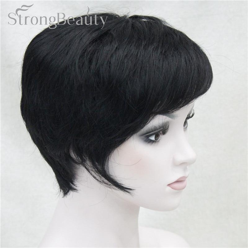 StrongBeauty Synthetic Straight Hair Boy Short Side Part Black/Brown Cosplay Men/Women Wigs