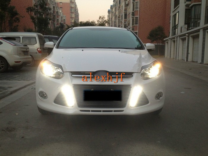 July King LED Daytime Running Lights DRL LED Front Bumper Fog Lamp case for Ford Focus III 2011~13 Y-Type 1:1 Replacement july king led daytime running lights drl case for ford mondeo 2011 2012 led front bumper fog lamp 1 1 replacement 1 pair lot