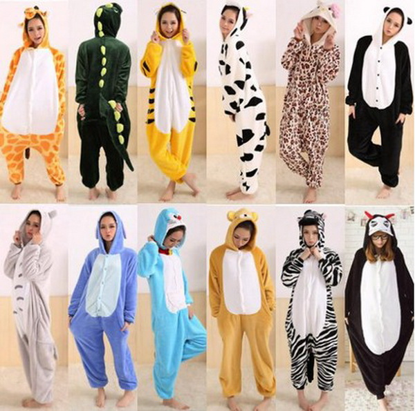 14 Models Animal Pajamas Cosplay Costume Free Shipping Animal Adult Footed Onesies Jumpsuit Unisex Sleepwears