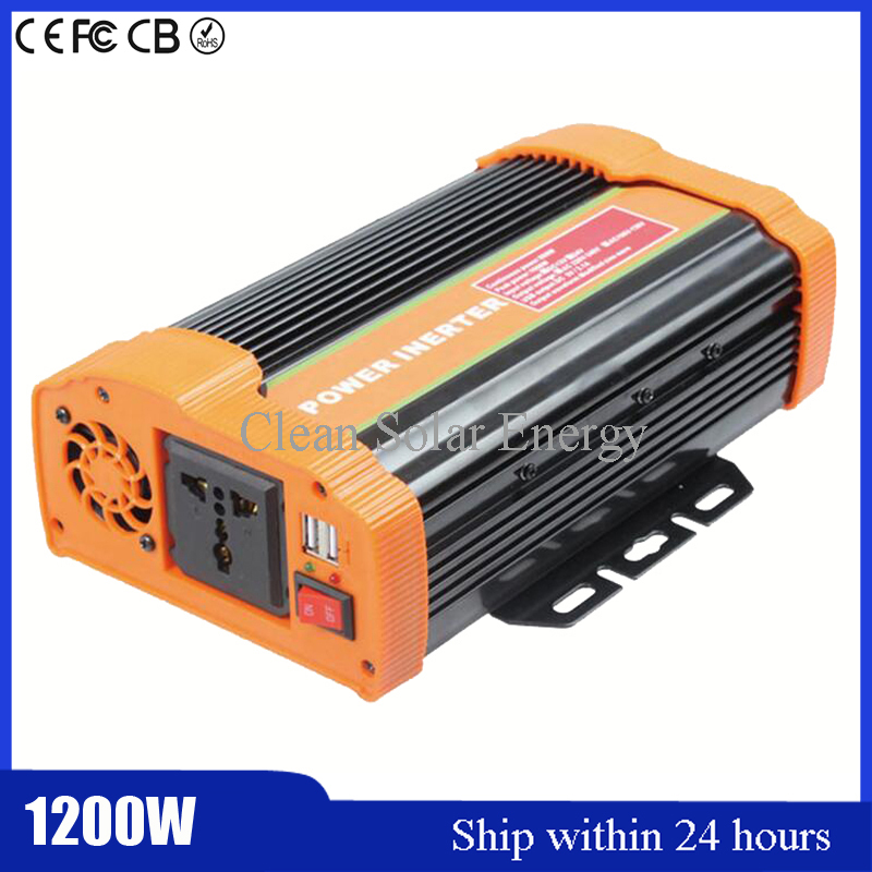 Solar Power Modified Sine Wave Inverter 1.2KW Power/DC24V to AC 220V/ Car Inverter Customized Socket with Full Pretection USB solar power on grid tie mini 300w inverter with mppt funciton dc 10 8 30v input to ac output no extra shipping fee