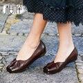 2017 Casual women flat shoes handmade original vintage square low heel shoes elegant female shoes genuine leather