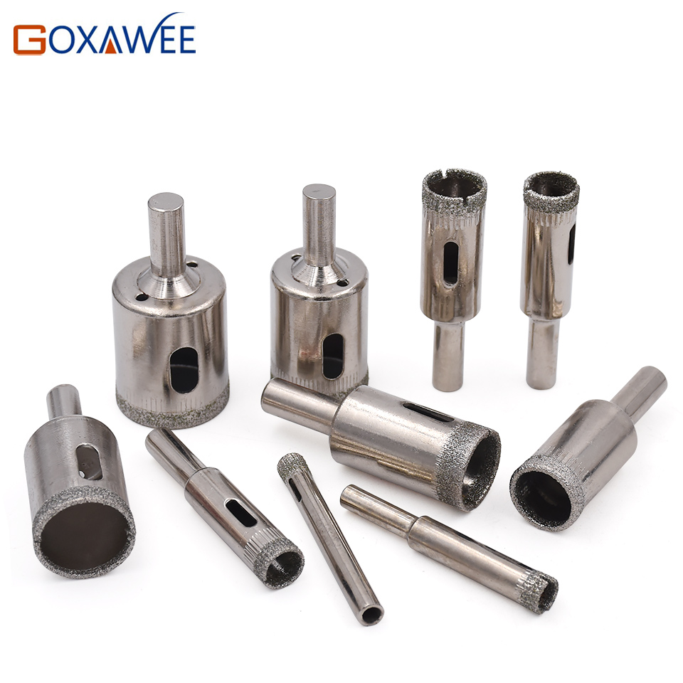 GOXAWEE 10pcs 6-25mm Diamond Coated Core Hole Saw Drill Bits Tool Cutter For Tiles Marble Glass Granite 6/8/10/12/14/16/18/25mm 10pcs 3 4 5 6 8mm diamond coated core saw hole drill tool for glass marble tiles g205m best quality