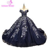 Hot Sale Special Lace Design Wedding Dress Royal Blue Color Bridal Gown Long Sleeves Wedding Gown Factory Directly Ball Gown