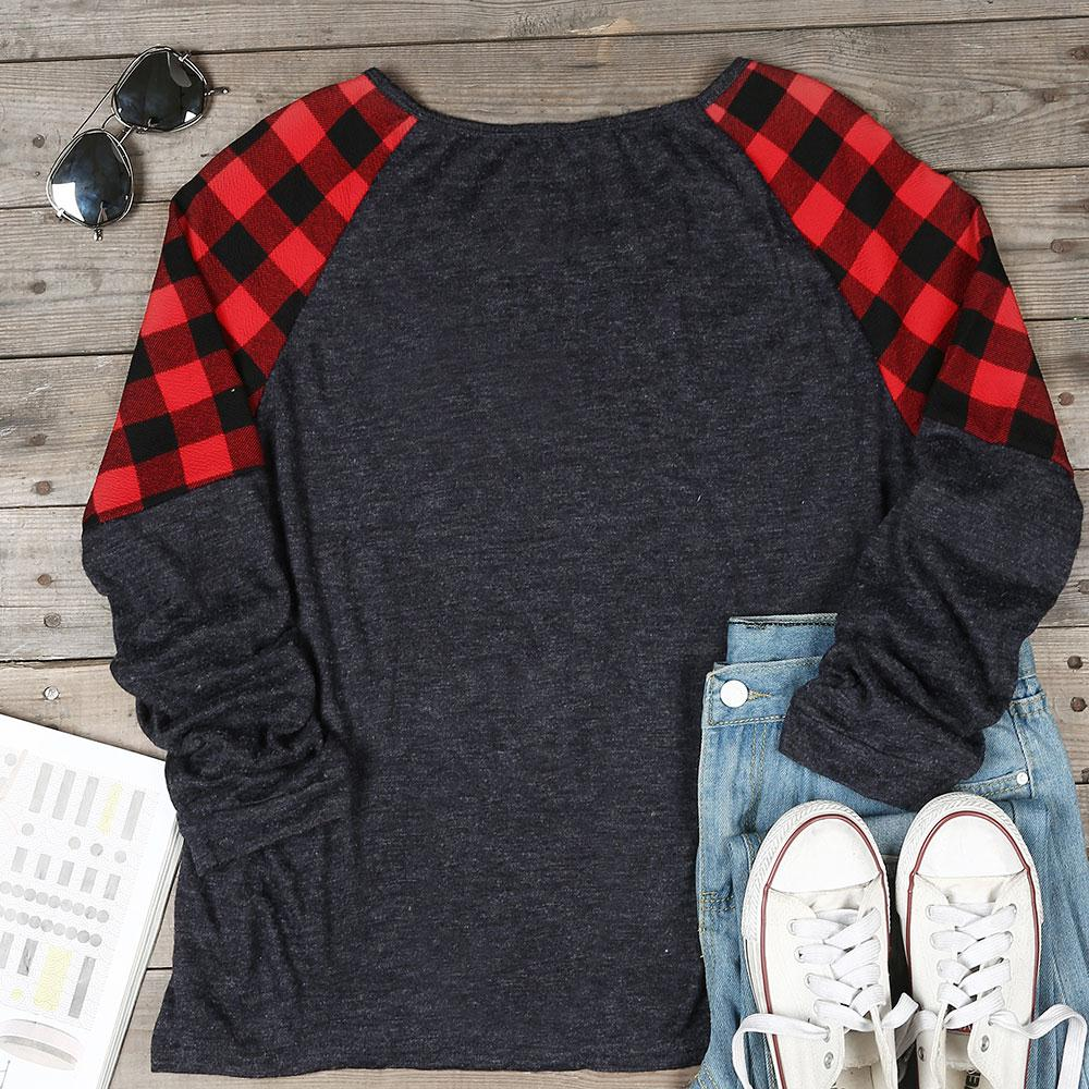 Women's Plaid Splicing Patchwork Long Sleeve T-Shirt 1