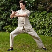 Promoción Chino Hombres Tai Chi Uniforme Ropa Ropa Tradicional Traje de Kung fu de Manga Corta Tamaño Ml XL XXL XXXL