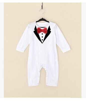 ワンピース赤ちゃんの少年スーツ紳士ロンパース春秋モデル登る服幼児黒、白の赤ちゃん男の子服