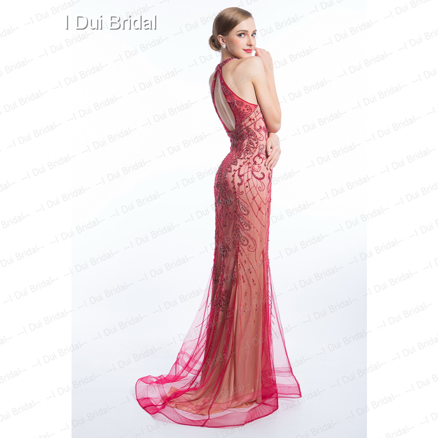 Halter Luxury Beaded Evening Dresses Keyhole Back High Quality Special  Occasion Dresses -in Evening Dresses from Weddings   Events on  Aliexpress.com ... 579f6ad5a4a4
