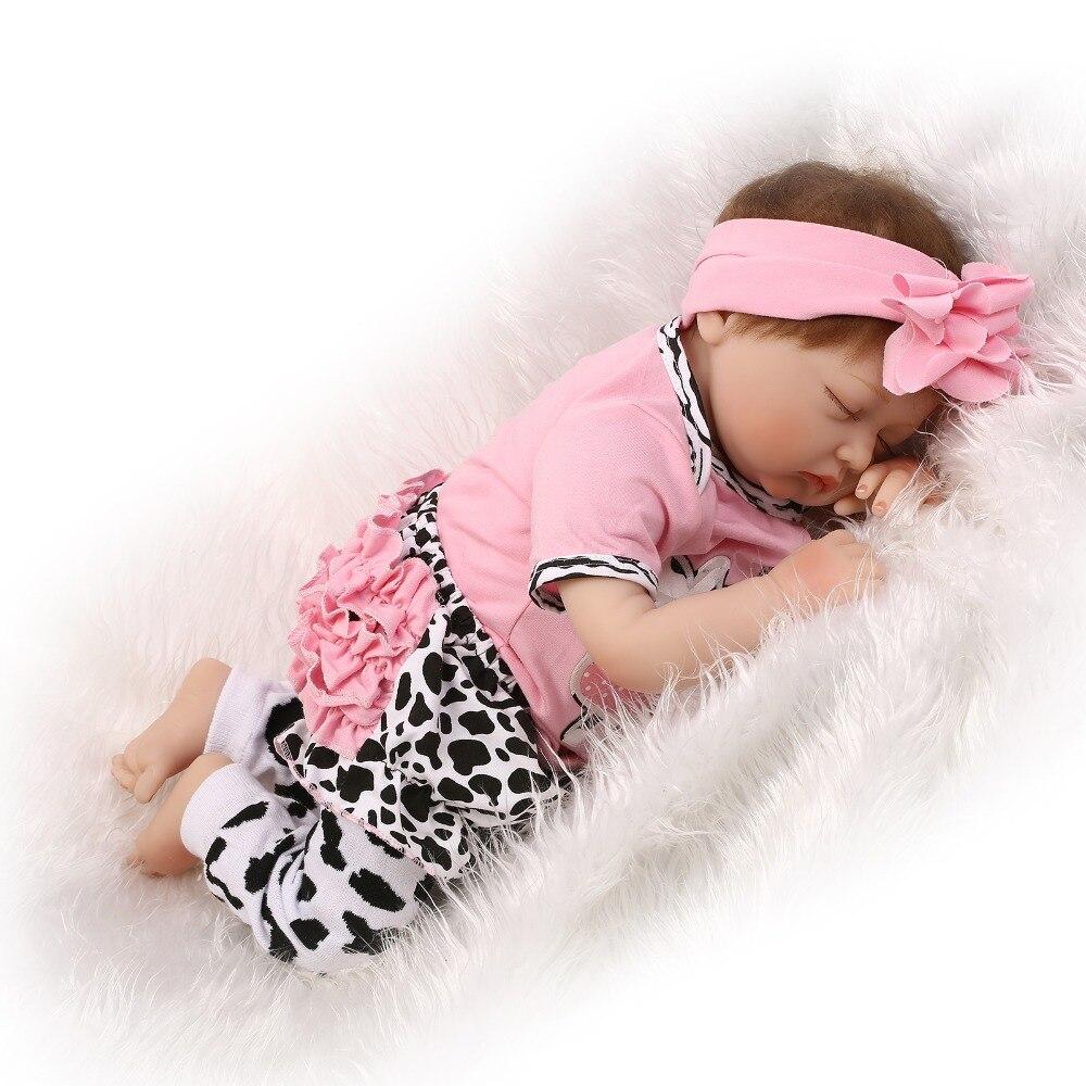 a4a7f7005943 Baby toys gift silicone reborn dolls 22inch lifelike closed eyes sleeping  ...