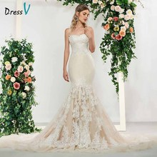 Dressv elegant lace sleeveless spaghetti straps mermaid wedding dress floor length simple bridal gowns trumpet dresses
