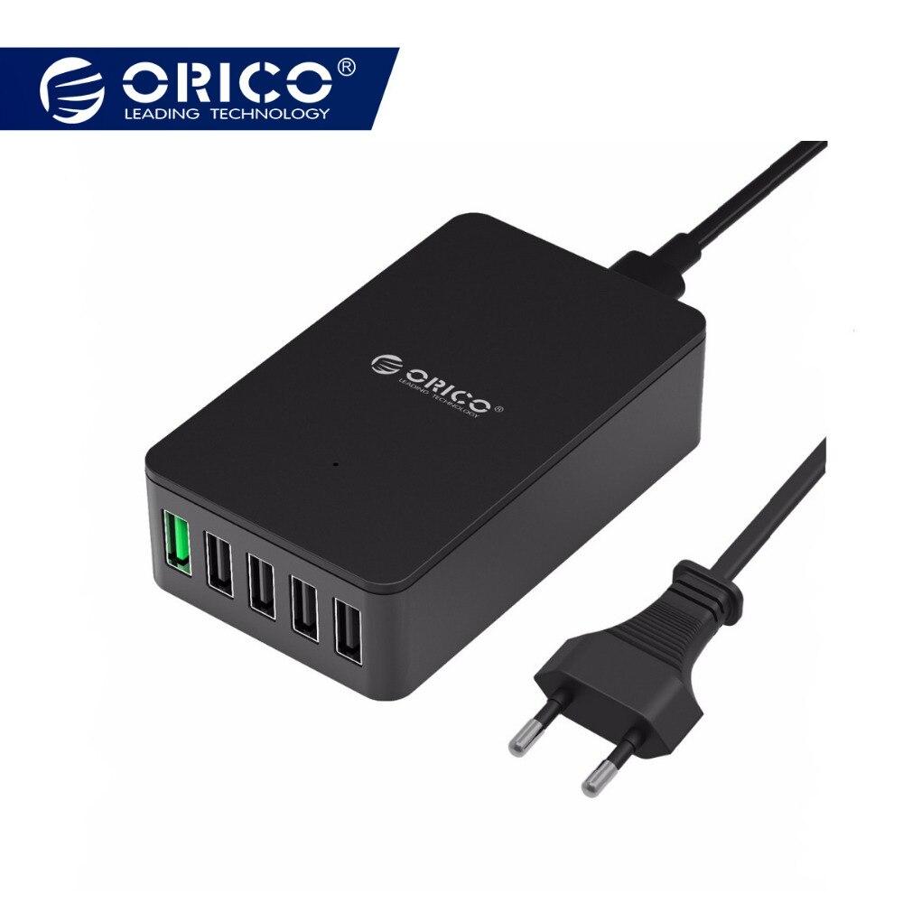 ORICO 5 Port Quick Charger QC 2.0 Charger 5V2.4A/9V2A/12V1.5A Desktop USB Charger for Almost Smart Phones EU US Plug Black QSE