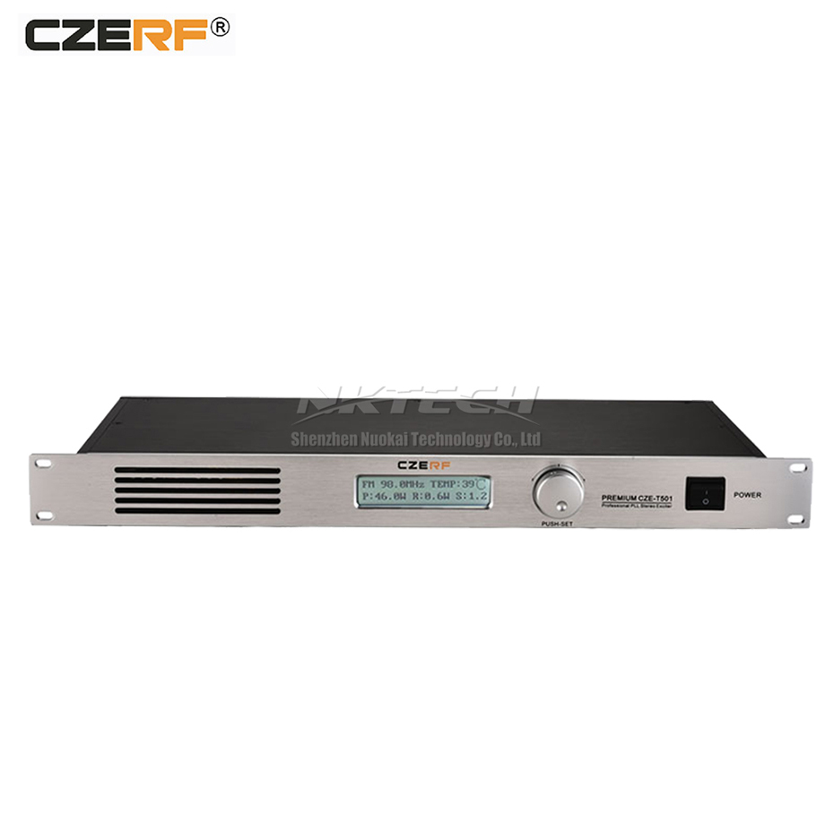 CZE-T501 CZERF PLL Stereo <font><b>FM</b></font> <font><b>Transmitter</b></font> 0-<font><b>50W</b></font> Power Adjustable Radio Broadcast RS232 6.5mm MIC NJ RDS Port Clear Sound Quality image