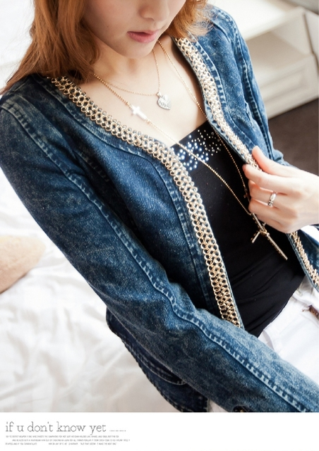 Korean Women Chain Retro Stretch Denim Jacket Fashion Round Collar Long Sleeves Cowboy Short Coat Free Shipping