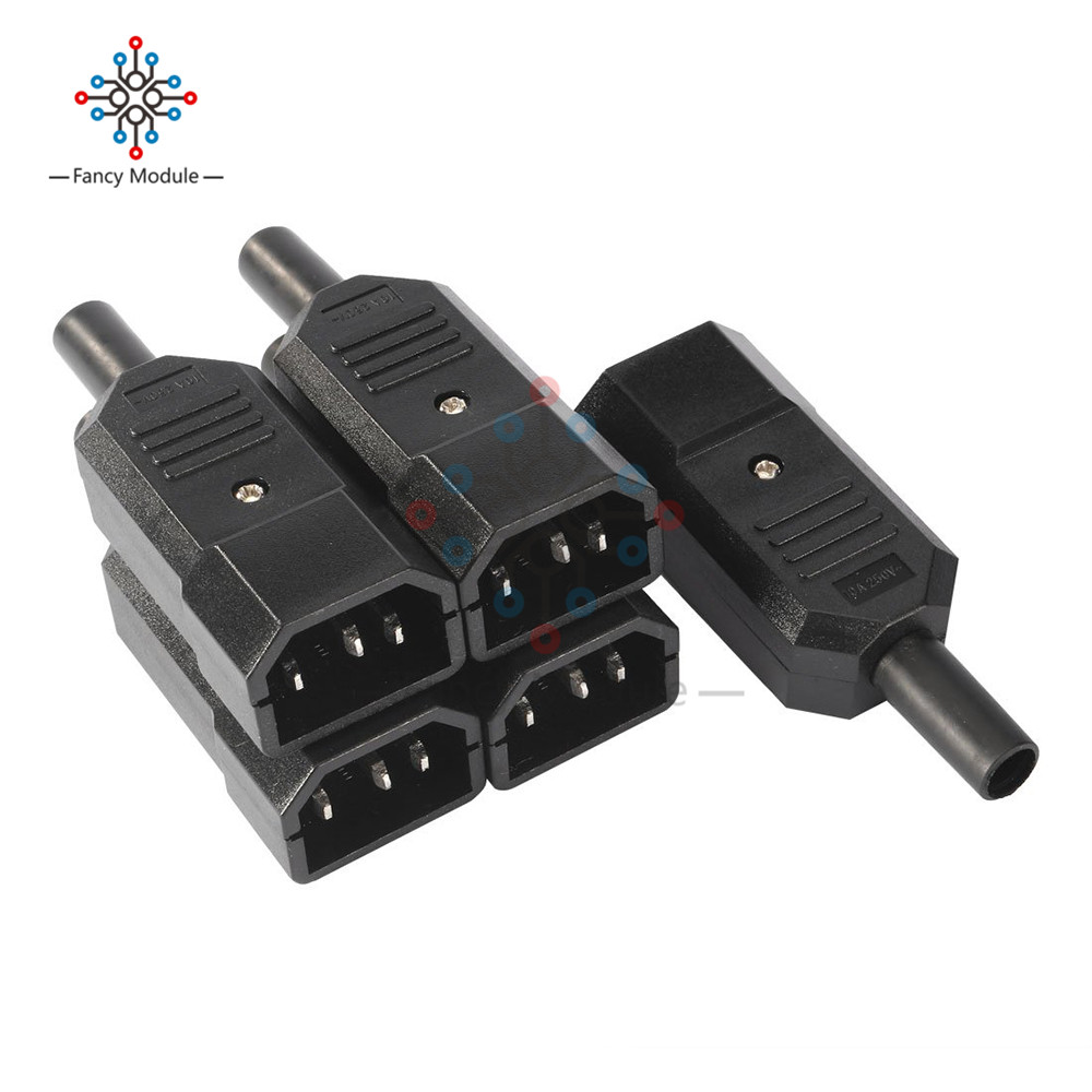 5PCS/Lot AC 250V 10A Male Adapter 3 Terminals Panel Mount IEC320 C14 Power Socket Adapter Connector