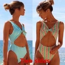Купальники женские летние 2019 новые вертикальные полосатые груди завязанные цельные два-купальник с боковыми завязками цельный купальный костюм бикини 2019