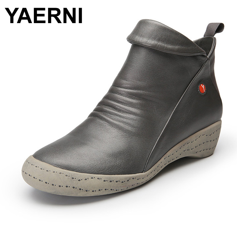 YAERNI  2017 New Autumn Winter Genuine Leather Shoes Women Boots Low Heel Cowhide Ankle Boots zooler new autumn winter genuine leather