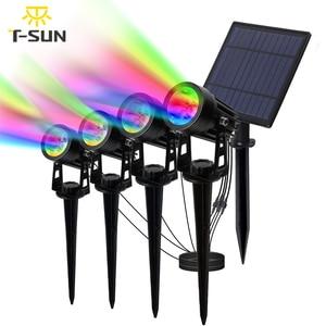 Image 1 - T SUNRISE luz LED Solar para jardín IP65 impermeable, lámpara Solar RGB para exteriores, foco Solar para decoración de jardín, luz de pared