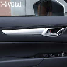 Hivotd For Mazda CX-5 CX5 2017-2019 Car Interior Door Handle Cover Pull Trim Cover ABS chrome Trim Strip Decoration accessories hivotd for mazda cx 5 cx5 2017 2019 abs front bottom bumper molding grill trim cover exterior trim car accessories new styling