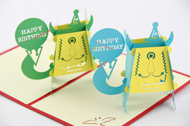 Funny Birthday Cards 3D Pop Up Card Kids Monster Free Shipping