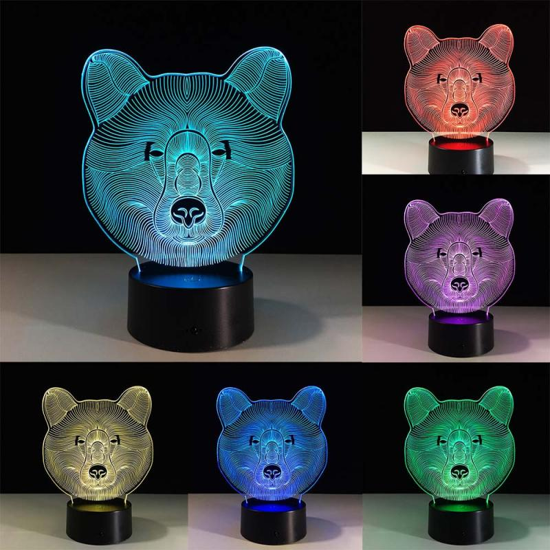 MUQGEW 5V 3D illusion Visual Night Light 7 Colors Change LED Desk Lamp Bedroom Home Decor USB Powered LED Touch Switch
