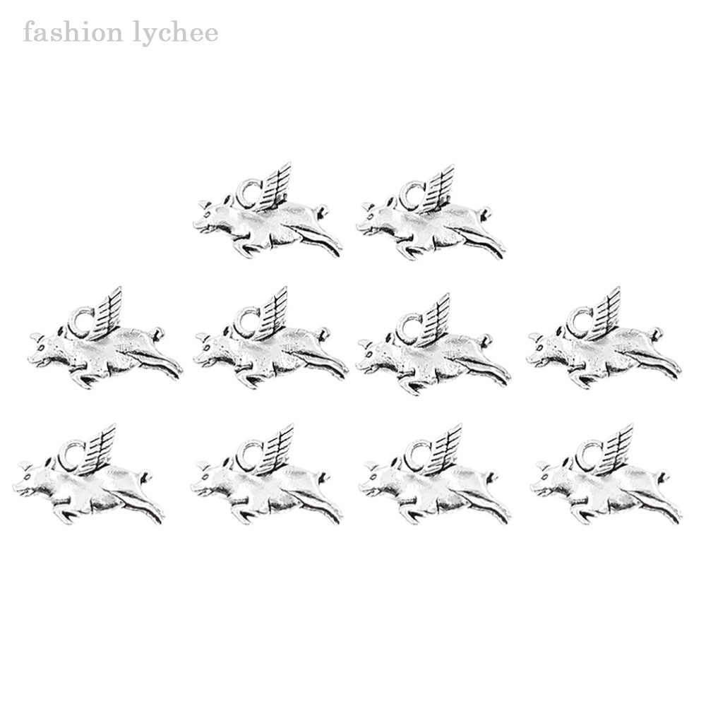 אופנה ליצ 'י 10 pcs בעלי החיים חזיר עם כנפי טיבטי כסף חרוזים תליון DIY שרשרת תכשיטי ביצוע אבזרים