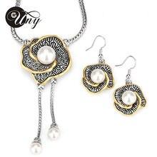 Caliente venta joyería conjunto austríaco plateado oro pendiente cristalino / collar de la flor