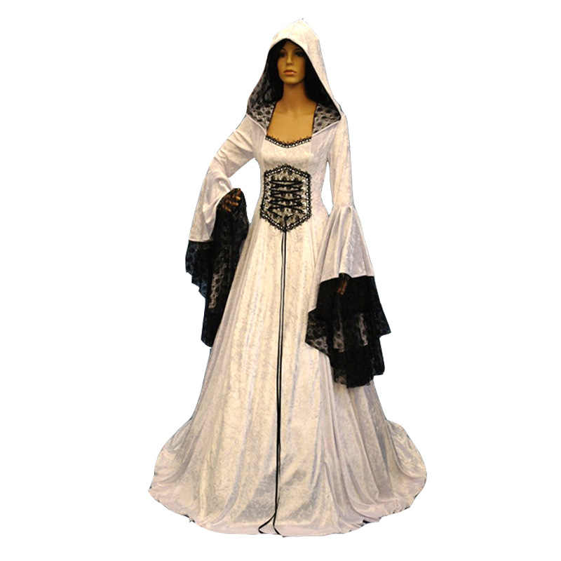 61c2a7f2411 ... Adult Women Medieval Wedding Maxi Gown Robe Dress Vintage White Gothic  Pagan Costume Hooded Lace Dress ...