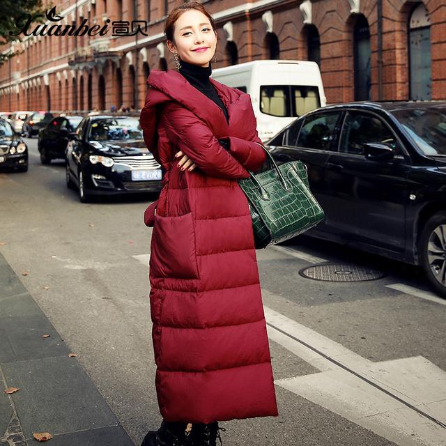 Nova Marca Para Baixo Casaco de Inverno Longo Fino Grosso Jaqueta Com Capuz ucrânia Parka Manteau Hiver Femme Plus Size Jaqueta de Inverno Vermelho casaco
