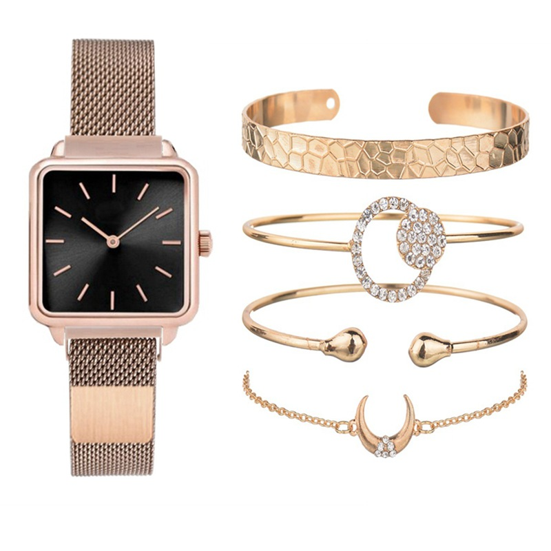 Five-piece Women Watch Set Lady's Square Shell Magnet With Watch Tremble Korean Magnetism Watch