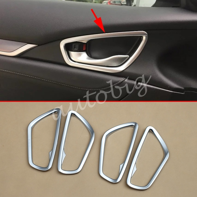 Matte Chrome Interior Door Handle For Honda Civic 10th Sedan Hatchback 2016 2017 Cover Accessories & Matte Chrome Interior Door Handle For Honda Civic 10th Sedan ...