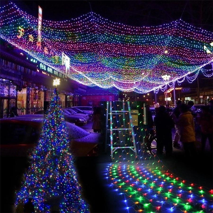 6Mx4M Big Size LED Net Lights Fairy String Light Christmas Outdoor Garden Patio Decoration Light AC220V 110V with EU Plug 8 Mode plus size drawstring hoodie with christmas decoration print
