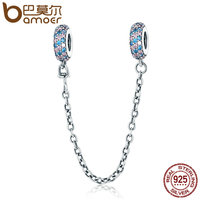 BAMOER Real 100 925 Sterling Silver Pink And Blue CZ Round Safety Chain Charm Fit Charm