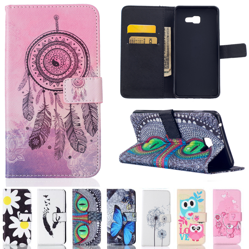 Printing Leather Case Flip Card Slot Stand Holder Wallet Cover Coque Fundas Para For Samsung Galaxy A7 2016 A710F A710  Capa