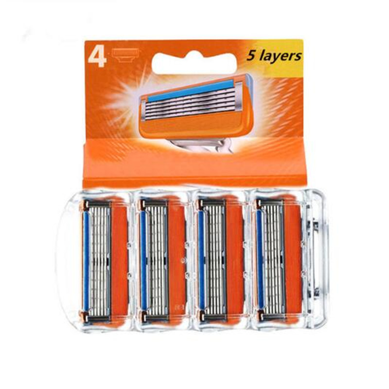 4pcs/pack Razor Blade For Men Face Care Shaving Safety,5layers Stainless Steel Shaver Cassette Fit For Gillettee Fusione Handle4pcs/pack Razor Blade For Men Face Care Shaving Safety,5layers Stainless Steel Shaver Cassette Fit For Gillettee Fusione Handle