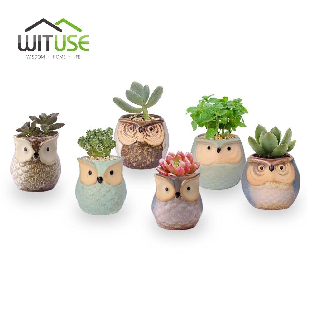 WITUSE 6Pcs/set Owl Ceramic Flower Pot Small Indoor Flower Clay Garden Pot Succulent Plants Nursery Pot Desktop Bonsai Planter