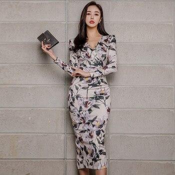 b4589bda 2019 nuevas mujeres de cuello en V elegante fiesta Bodycon vestido de  oficina de trabajo Casual ...