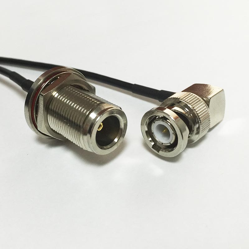 New BNC Male Plug Right Angle Connector Switch N Female Jack nut Connector RG174 Cable 20CM 8