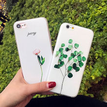 Case For iPhone 8 Luxury Cute Floral Leaves Pattern Cover 6 6S 7 Plus 5 5S SE Rubber Soft TPU Silicone Phone