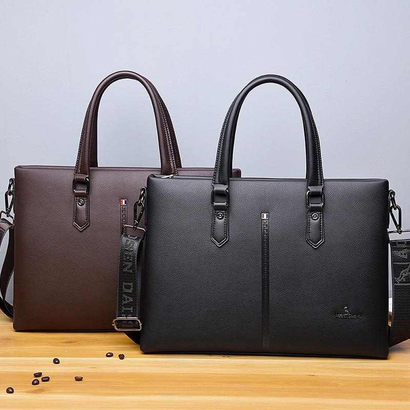 Business Faux Leather Briefcase Men's Black Messenger Portfolio Lawer Laptop Crossbody bag File Holder