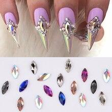 10 шт. Marquise Shape 4x8 мм 3d-стразы для ногтей стеклянные бриллианты для ногтей dekor с плоским основанием, для ногтей Кристаллы подвески поставки TBL57