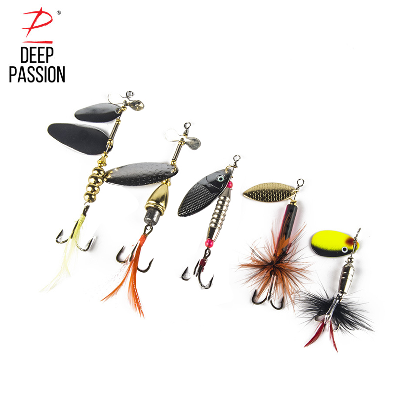 5PC Sequins Bait Artificial Fishing Lure Set Rotate Artificial Bait Lure Kit Fishing Hard Integrated Bait Fishing Gear Lures