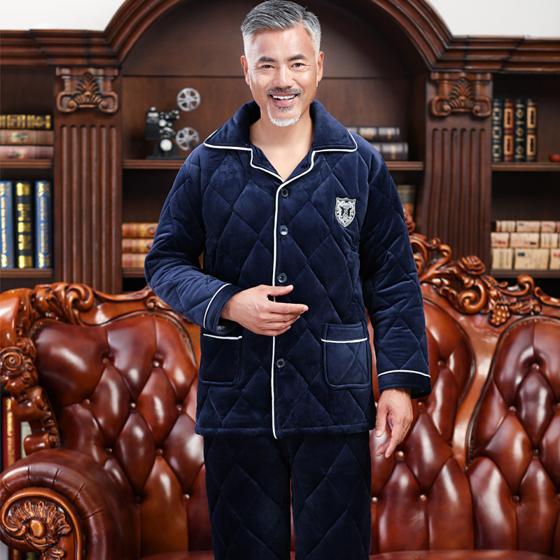 Winter Pajamas For Men Thick Three-layer Quilted Sleepwear Suit 2 Pcs Pyjama Homme Warm Casual Home Clothing Pijama Hombre